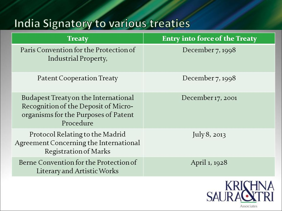 TreatyEntry into force of the Treaty Paris Convention for the Protection of Industrial Property, December 7, 1998 Patent Cooperation TreatyDecember 7, 1998 Budapest Treaty on the International Recognition of the Deposit of Micro- organisms for the Purposes of Patent Procedure December 17, 2001 Protocol Relating to the Madrid Agreement Concerning the International Registration of Marks July 8, 2013 Berne Convention for the Protection of Literary and Artistic Works April 1, 1928