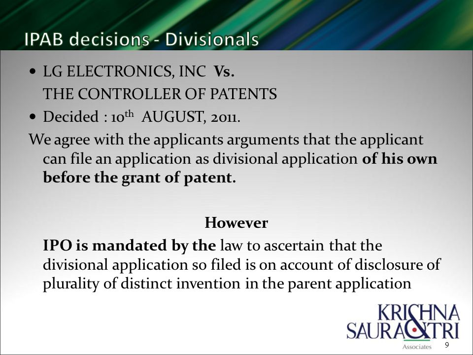 LG ELECTRONICS, INC Vs. THE CONTROLLER OF PATENTS Decided : 10 th AUGUST, 2011.