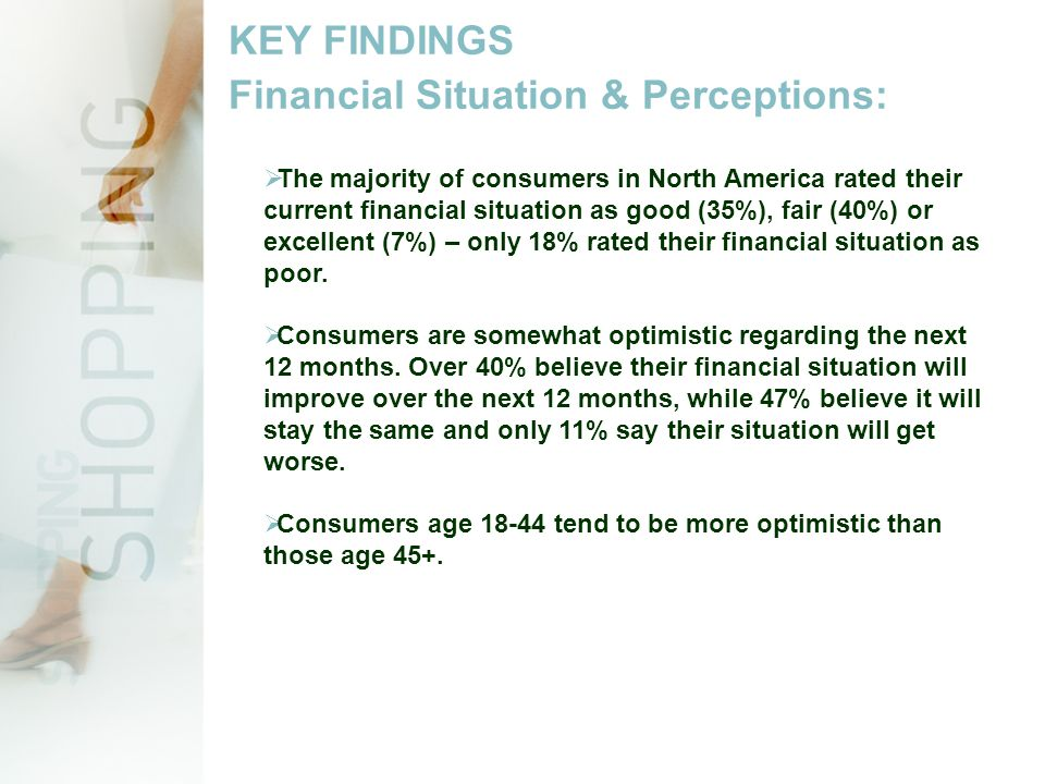 KEY FINDINGS Financial Situation & Perceptions:  The majority of consumers in North America rated their current financial situation as good (35%), fair (40%) or excellent (7%) – only 18% rated their financial situation as poor.
