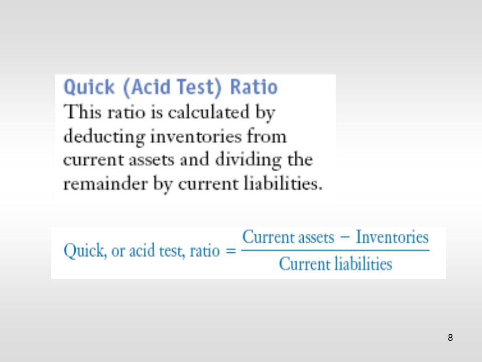 19 Ratio analysis involves comparisons — a company's ratios are compared with those of other firms in the same industry, that is, to industry average figures.