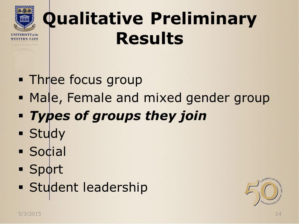 Qualitative Preliminary Results  Three focus group  Male, Female and mixed gender group  Types of groups they join  Study  Social  Sport  Student leadership 5/3/201514