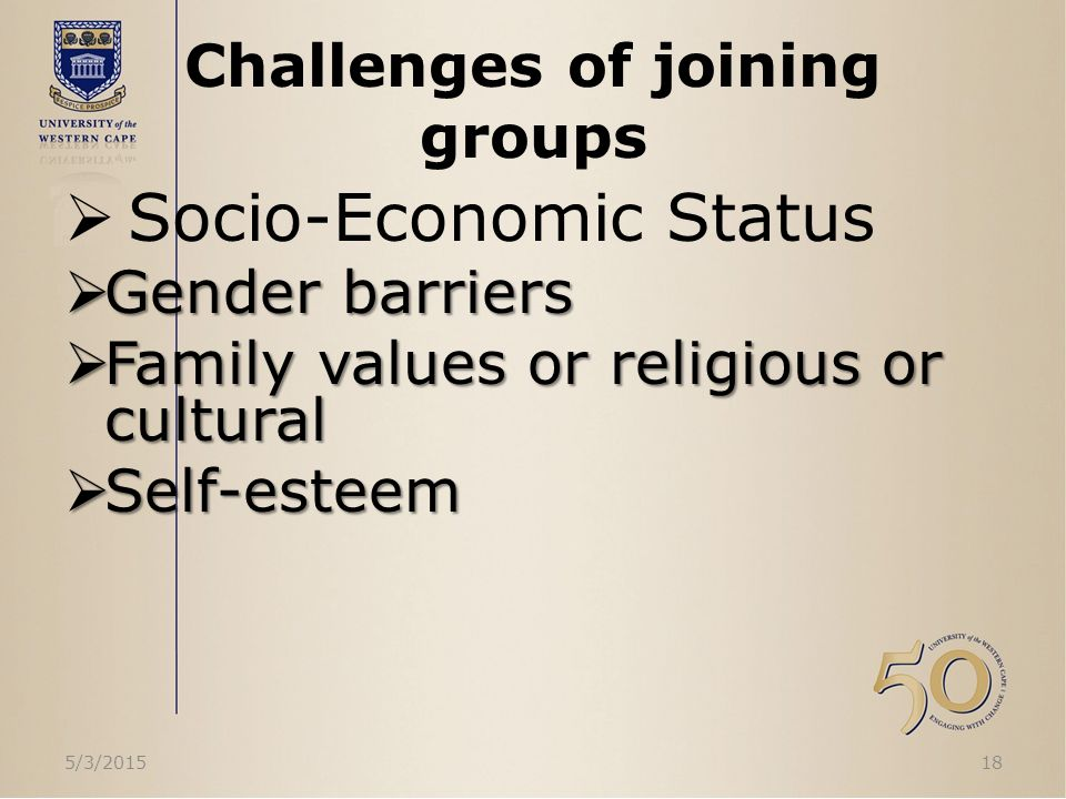 Challenges of joining groups  Socio-Economic Status  Gender barriers  Family values or religious or cultural  Self-esteem 5/3/201518