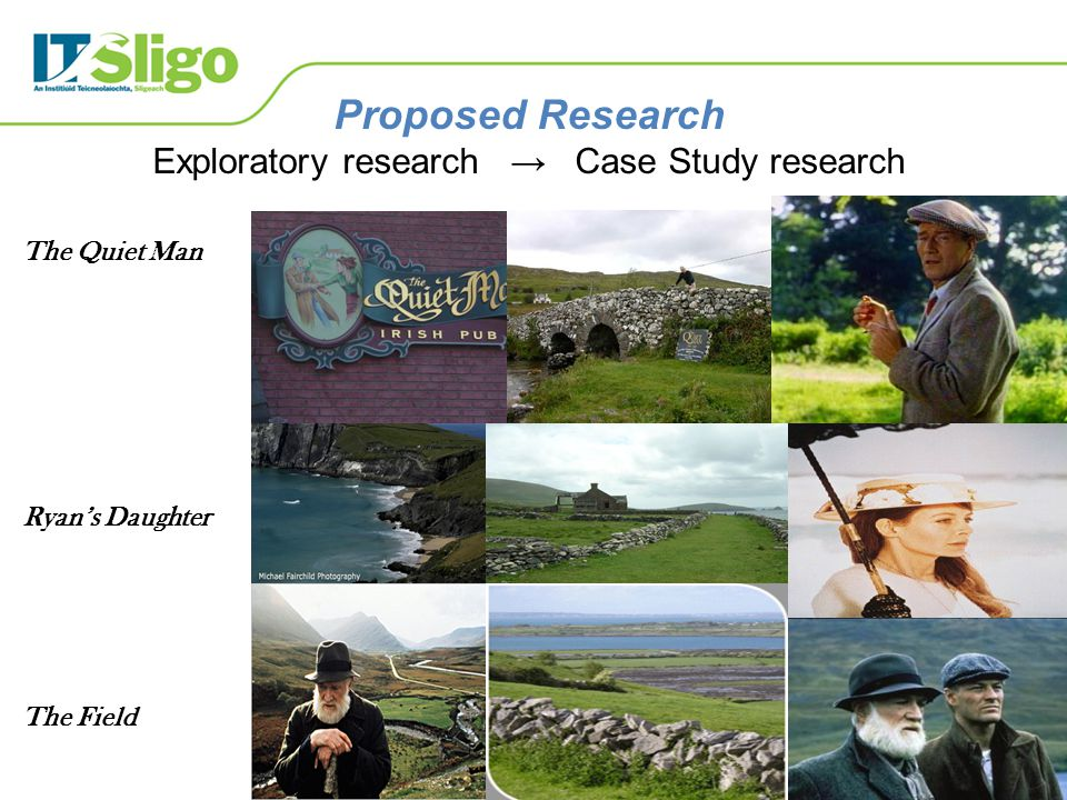 Proposed Research Exploratory research → Case Study research The Quiet Man Ryan's Daughter The Field
