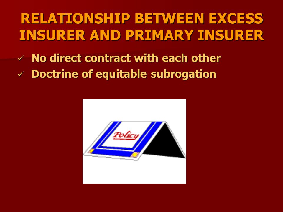 RELATIONSHIP BETWEEN EXCESS INSURER AND PRIMARY INSURER No direct contract with each other No direct contract with each other Doctrine of equitable su