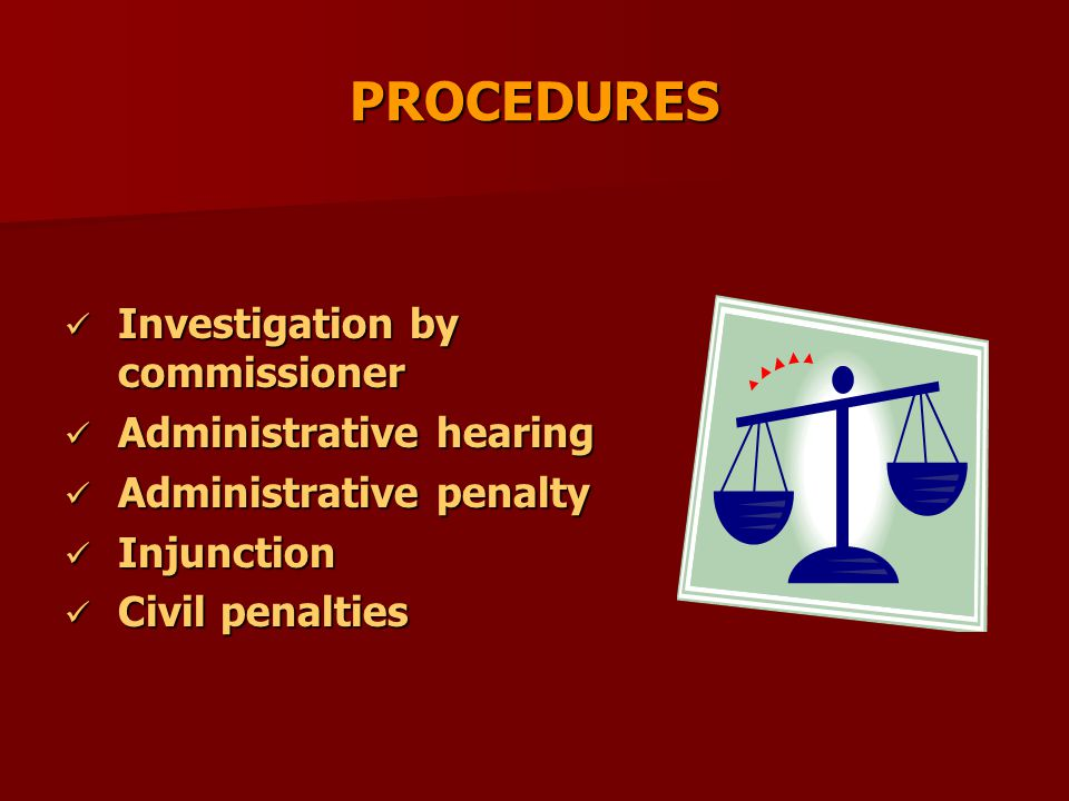 PROCEDURES Investigation by commissioner Investigation by commissioner Administrative hearing Administrative hearing Administrative penalty Administra