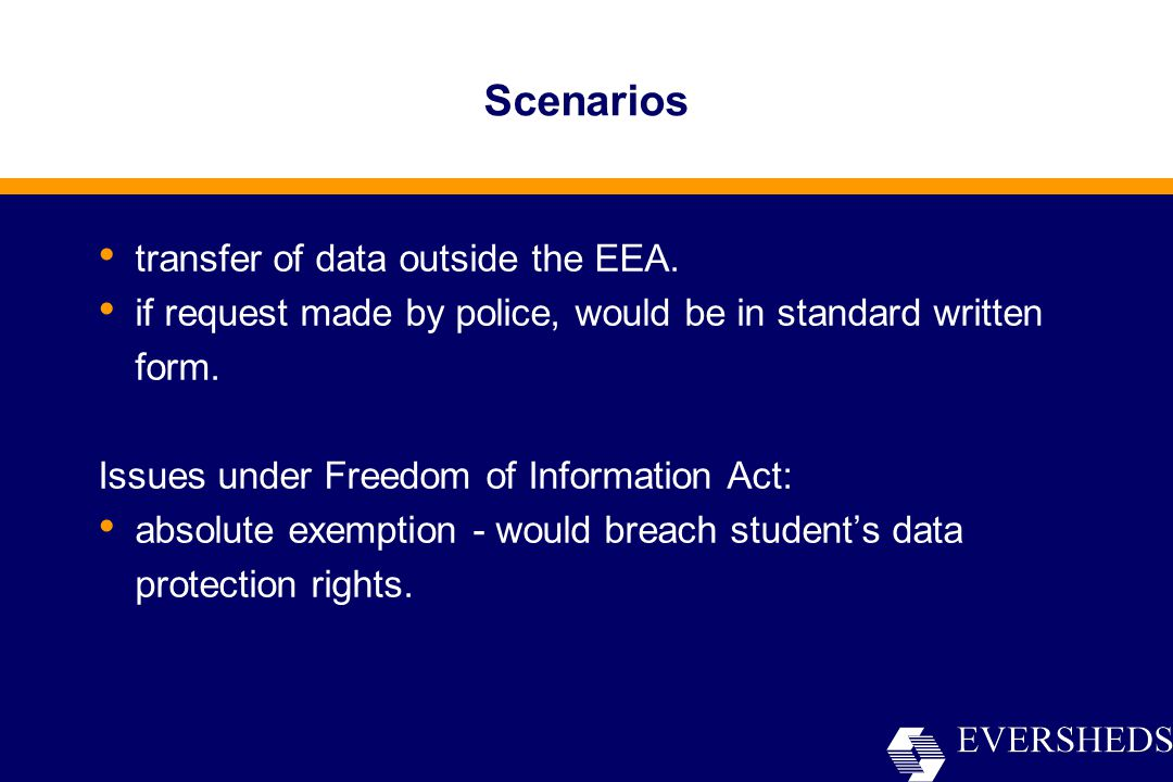 Scenarios transfer of data outside the EEA.