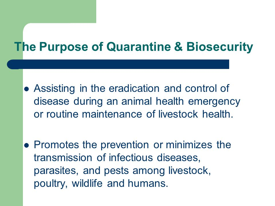 The Purpose of Quarantine & Biosecurity Assisting in the eradication and control of disease during an animal health emergency or routine maintenance of livestock health.