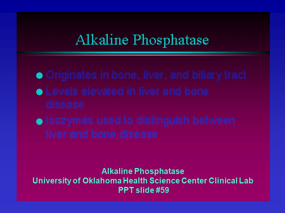 Alkaline Phosphatase University of Oklahoma Health Science Center Clinical Lab PPT slide #59