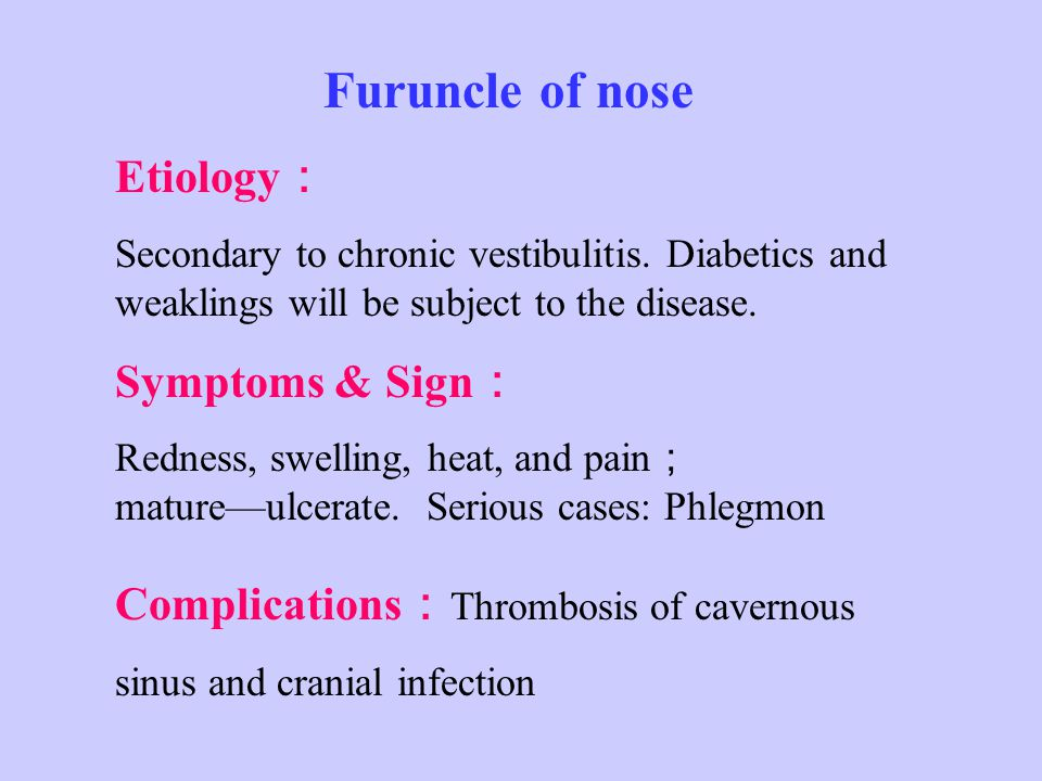 Furuncle of nose Etiology : Secondary to chronic vestibulitis.
