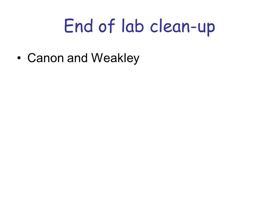 End of lab clean-up Canon and Weakley