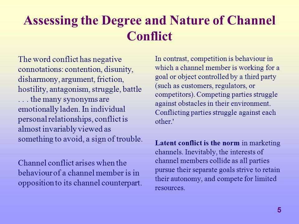26 Styles of Conflict Resolution Avoidance A relatively passive channel member (perhaps one in a weak position or represented by a poor negotiator) has an avoidance style of dealing with conflict.