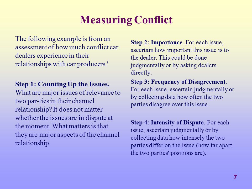 8 Measuring Conflict There is no real argument over any issue if: The difference of opinion rarely occurs (low frequency).