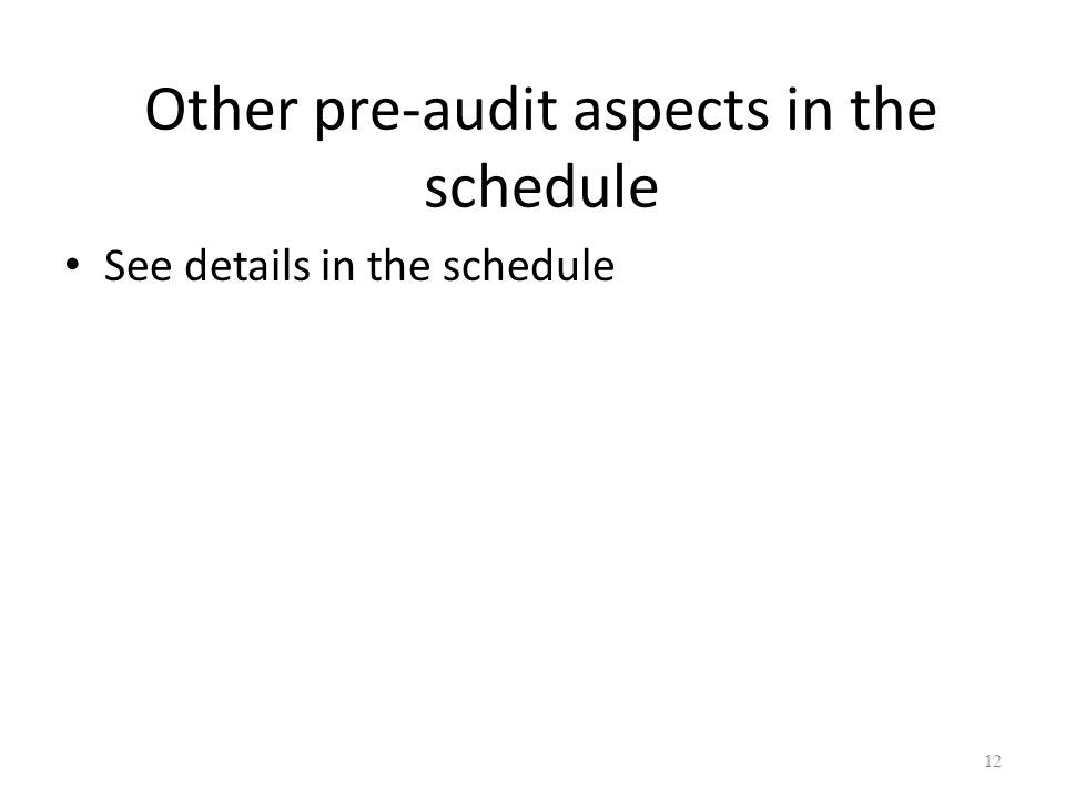 Other pre-audit aspects in the schedule See details in the schedule 12