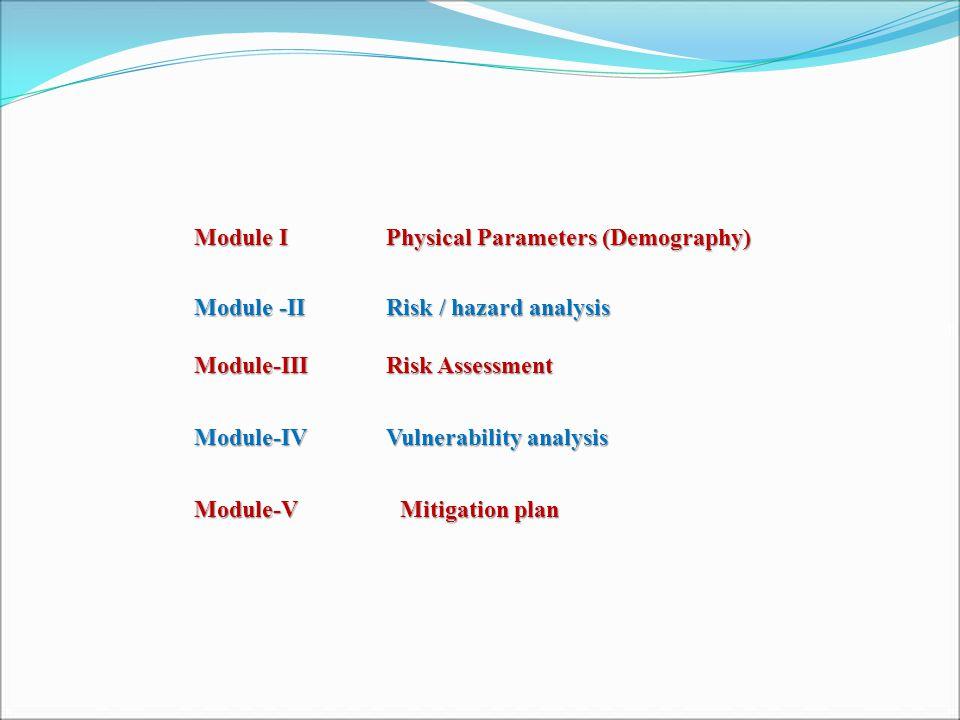 Module I Physical Parameters (Demography) Module -II Risk / hazard analysis Module-III Risk Assessment Module-IVVulnerability analysis Module-V Mitigation plan