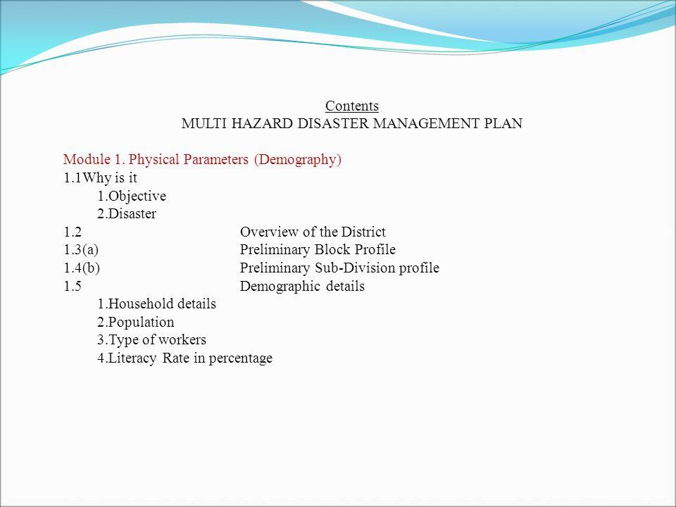 Contents MULTI HAZARD DISASTER MANAGEMENT PLAN Module 1.