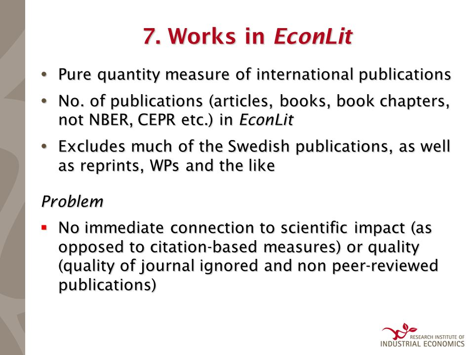 7. Works in EconLit  Pure quantity measure of international publications  No.