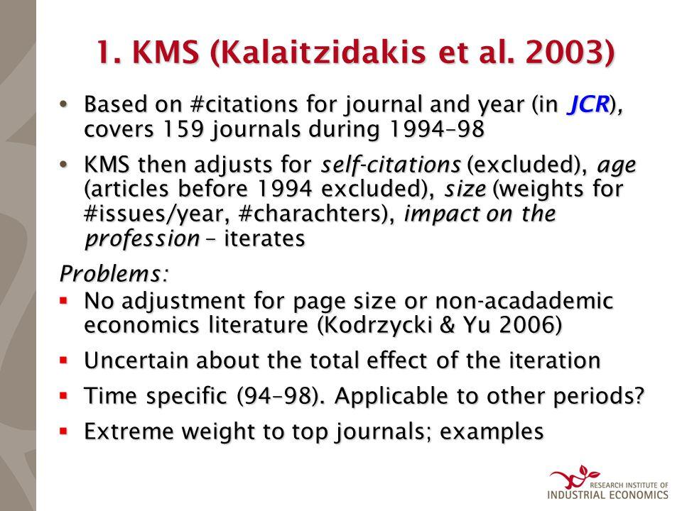 1. KMS (Kalaitzidakis et al.