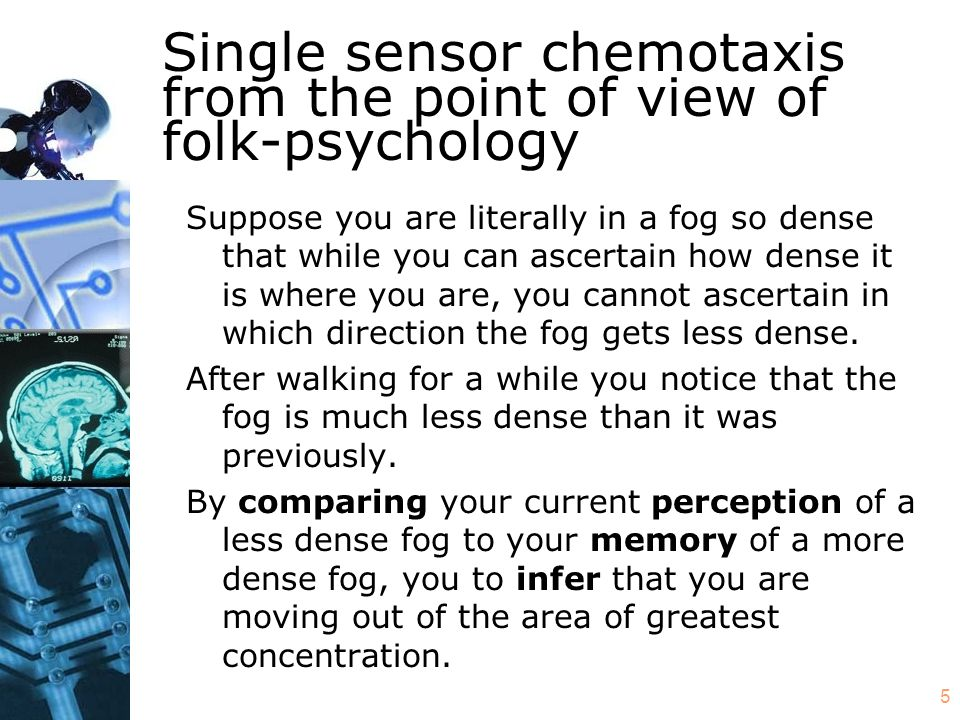 5 Single sensor chemotaxis from the point of view of folk-psychology Suppose you are literally in a fog so dense that while you can ascertain how dense it is where you are, you cannot ascertain in which direction the fog gets less dense.