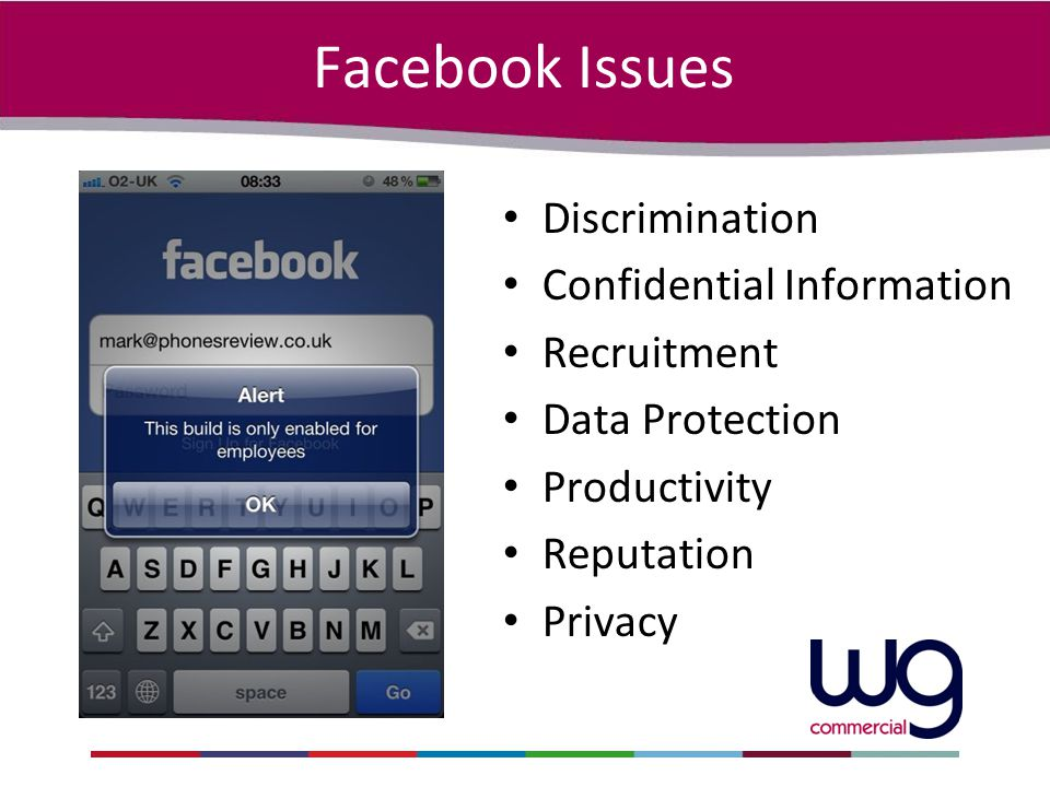 Facebook Issues Discrimination Confidential Information Recruitment Data Protection Productivity Reputation Privacy