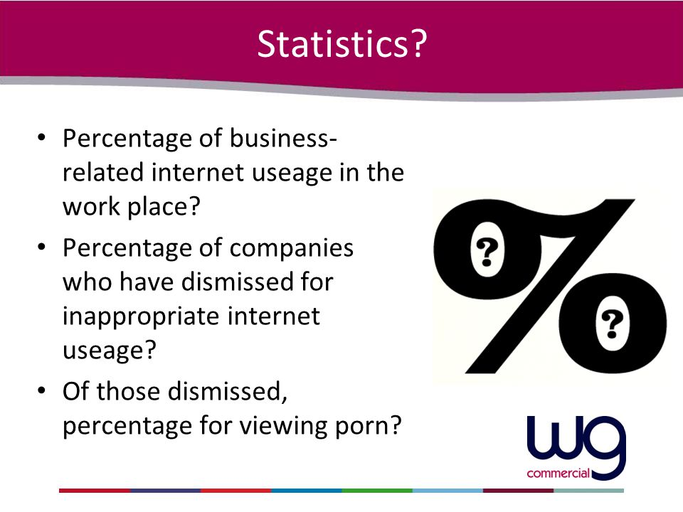 Statistics? Percentage of business- related internet useage in the work place? Percentage of companies who have dismissed for inappropriate internet u