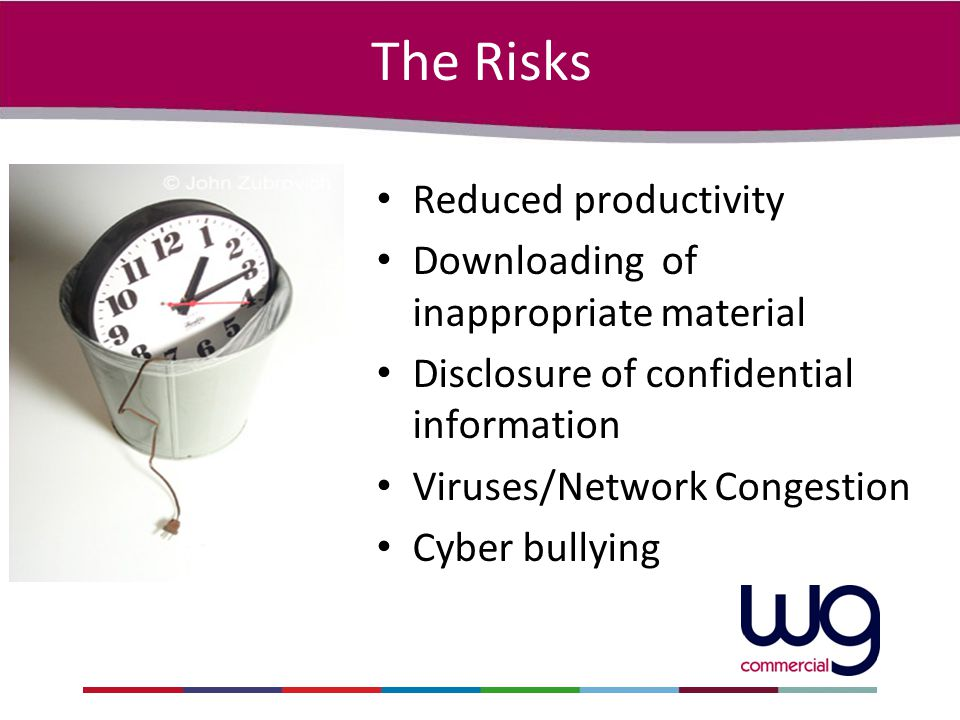 The Risks Reduced productivity Downloading of inappropriate material Disclosure of confidential information Viruses/Network Congestion Cyber bullying