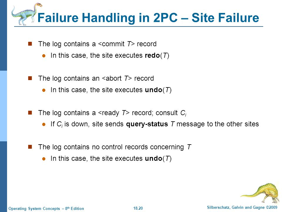 18.20 Silberschatz, Galvin and Gagne ©2009 Operating System Concepts – 8 th Edition Failure Handling in 2PC – Site Failure The log contains a record In this case, the site executes redo(T) The log contains an record In this case, the site executes undo(T) The log contains a record; consult C i If C i is down, site sends query-status T message to the other sites The log contains no control records concerning T In this case, the site executes undo(T)