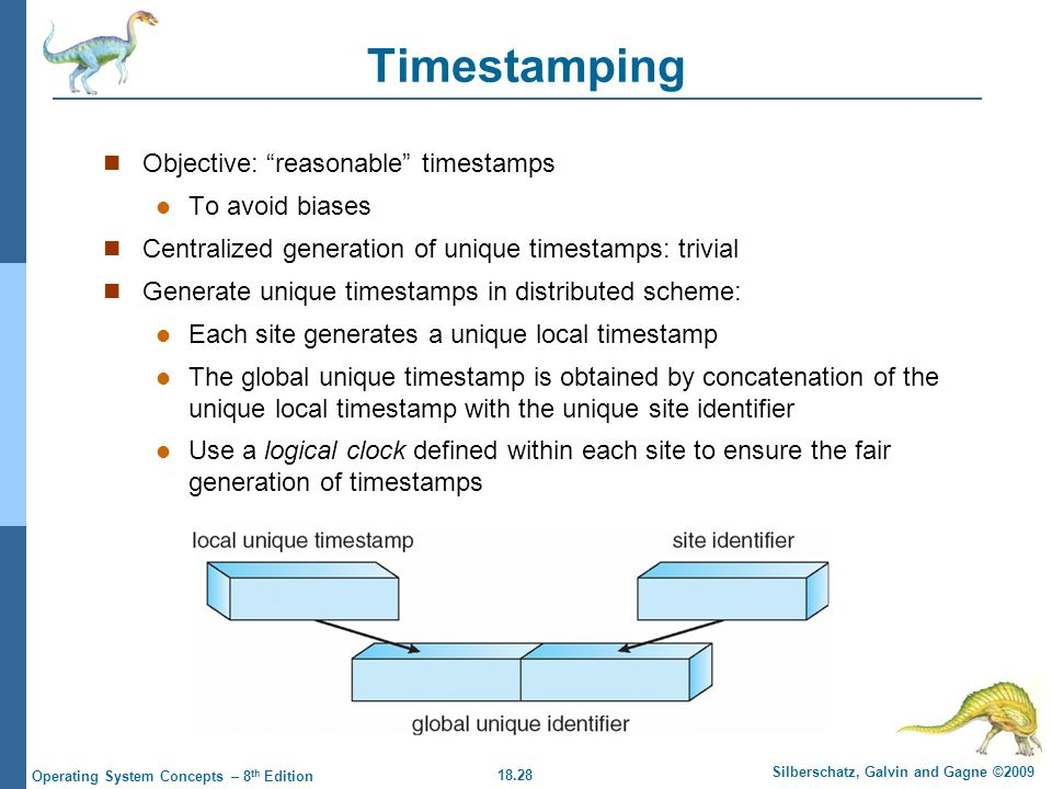 18.28 Silberschatz, Galvin and Gagne ©2009 Operating System Concepts – 8 th Edition Timestamping Objective: reasonable timestamps To avoid biases Centralized generation of unique timestamps: trivial Generate unique timestamps in distributed scheme: Each site generates a unique local timestamp The global unique timestamp is obtained by concatenation of the unique local timestamp with the unique site identifier Use a logical clock defined within each site to ensure the fair generation of timestamps