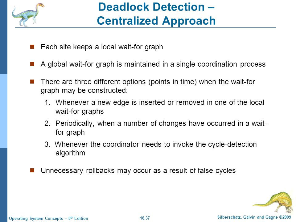 18.37 Silberschatz, Galvin and Gagne ©2009 Operating System Concepts – 8 th Edition Deadlock Detection – Centralized Approach Each site keeps a local wait-for graph A global wait-for graph is maintained in a single coordination process There are three different options (points in time) when the wait-for graph may be constructed: 1.