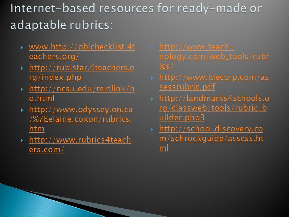  www.http://pblchecklist.4t eachers.org/ www.http://pblchecklist.4t eachers.org/  http://rubistar.4teachers.o rg/index.php http://rubistar.4teachers.o rg/index.php  http://ncsu.edu/midlink/h o.html http://ncsu.edu/midlink/h o.html  http://www.odyssey.on.ca /%7Eelaine.coxon/rubrics.
