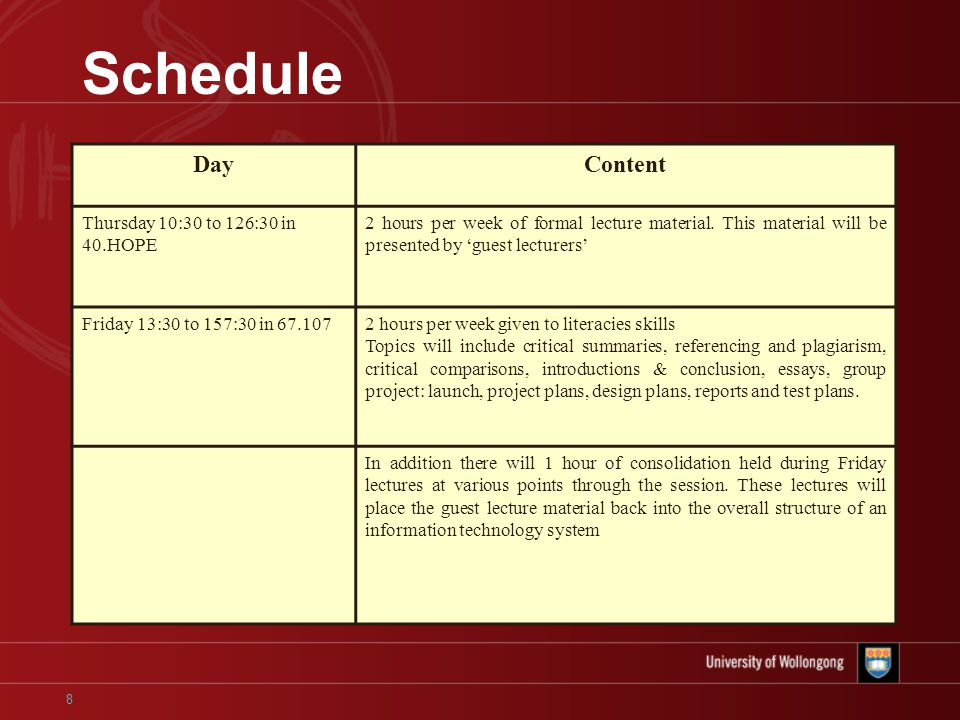 8 Schedule DayContent Thursday 10:30 to 126:30 in 40.HOPE 2 hours per week of formal lecture material.