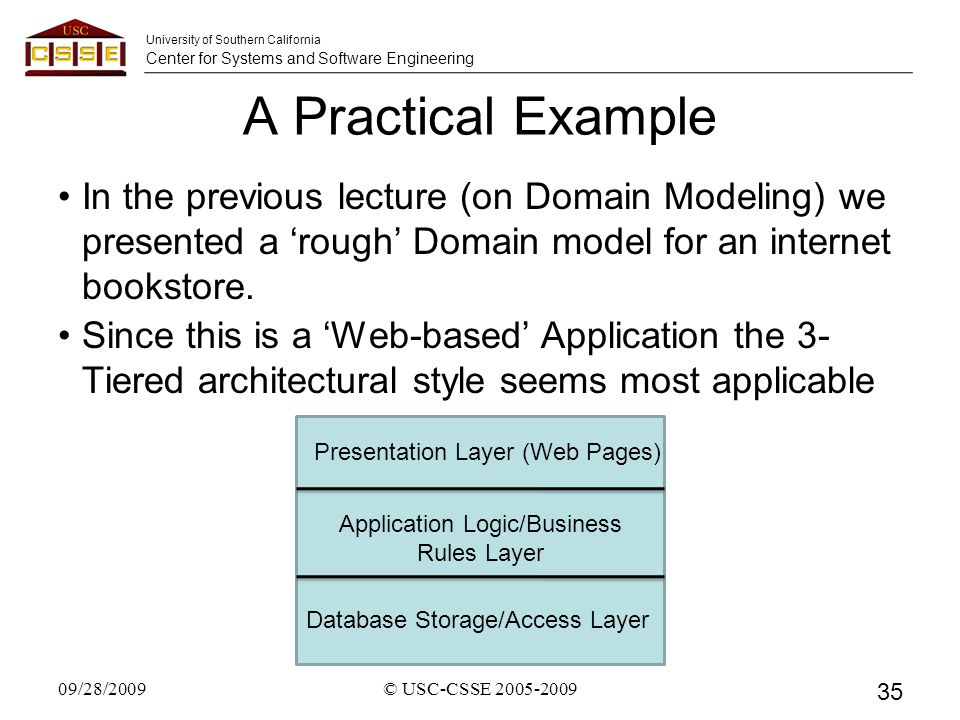 University of Southern California Center for Systems and Software Engineering A Practical Example In the previous lecture (on Domain Modeling) we presented a 'rough' Domain model for an internet bookstore.