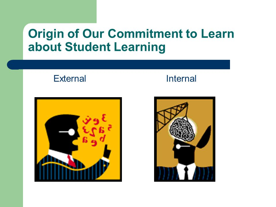 Origin of Our Commitment to Learn about Student Learning ExternalInternal