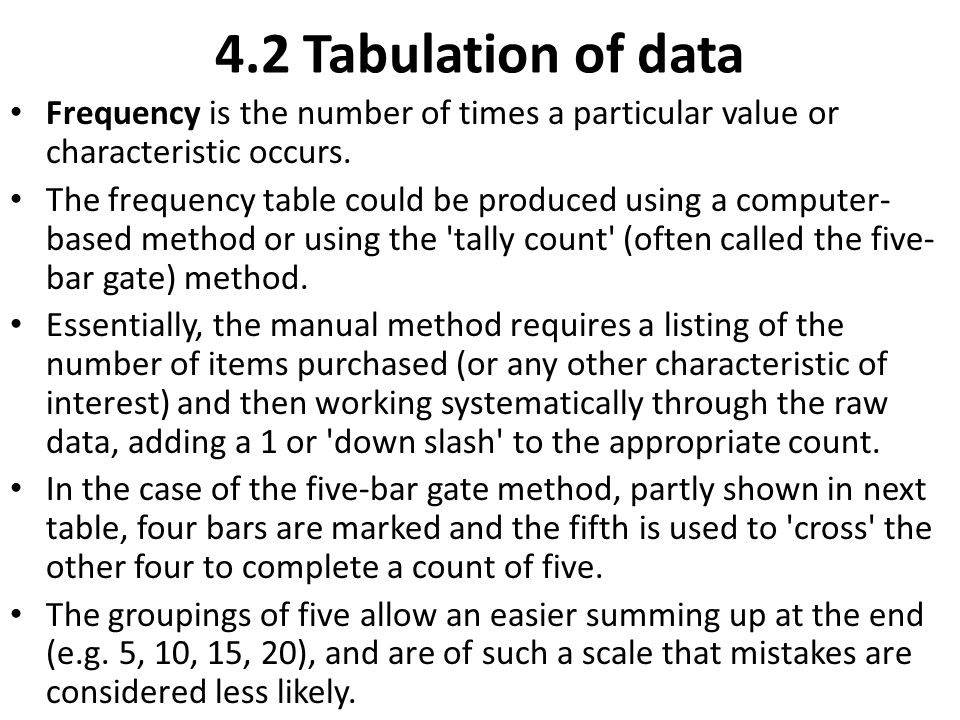 4.2 Tabulation of data Frequency is the number of times a particular value or characteristic occurs. The frequency table could be produced using a com