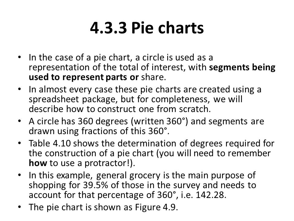 In the case of a pie chart, a circle is used as a representation of the total of interest, with segments being used to represent parts or share. In al
