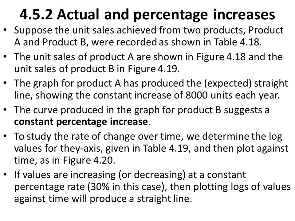 4.5.2 Actual and percentage increases Suppose the unit sales achieved from two products, Product A and Product B, were recorded as shown in Table 4.18