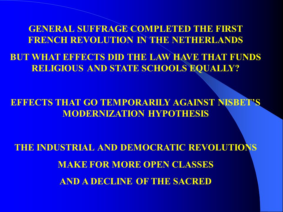GENERAL SUFFRAGE COMPLETED THE FIRST FRENCH REVOLUTION IN THE NETHERLANDS BUT WHAT EFFECTS DID THE LAW HAVE THAT FUNDS RELIGIOUS AND STATE SCHOOLS EQUALLY.