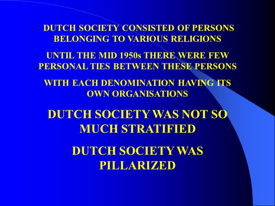 DUTCH SOCIETY CONSISTED OF PERSONS BELONGING TO VARIOUS RELIGIONS UNTIL THE MID 1950s THERE WERE FEW PERSONAL TIES BETWEEN THESE PERSONS WITH EACH DENOMINATION HAVING ITS OWN ORGANISATIONS DUTCH SOCIETY WAS NOT SO MUCH STRATIFIED DUTCH SOCIETY WAS PILLARIZED
