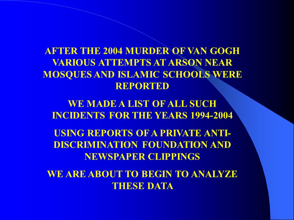AFTER THE 2004 MURDER OF VAN GOGH VARIOUS ATTEMPTS AT ARSON NEAR MOSQUES AND ISLAMIC SCHOOLS WERE REPORTED WE MADE A LIST OF ALL SUCH INCIDENTS FOR THE YEARS 1994-2004 USING REPORTS OF A PRIVATE ANTI- DISCRIMINATION FOUNDATION AND NEWSPAPER CLIPPINGS WE ARE ABOUT TO BEGIN TO ANALYZE THESE DATA