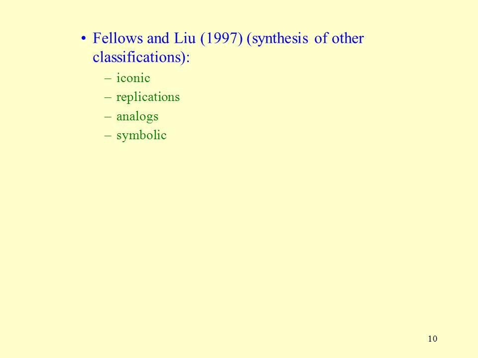 10 Fellows and Liu (1997) (synthesis of other classifications): –iconic –replications –analogs –symbolic