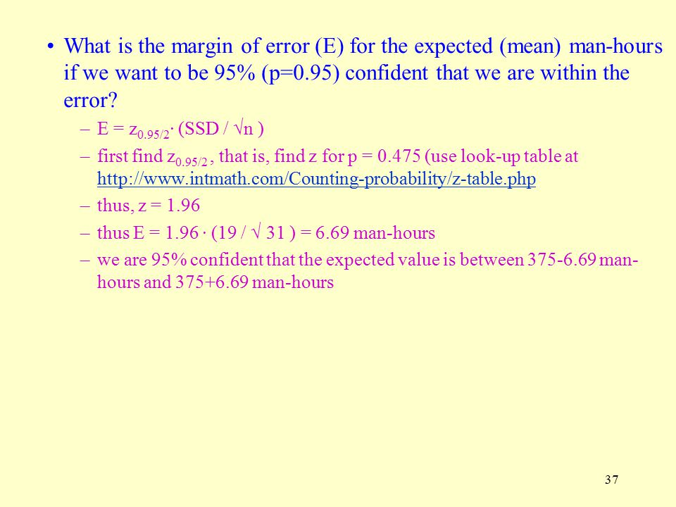 37 What is the margin of error (E) for the expected (mean) man-hours if we want to be 95% (p=0.95) confident that we are within the error.