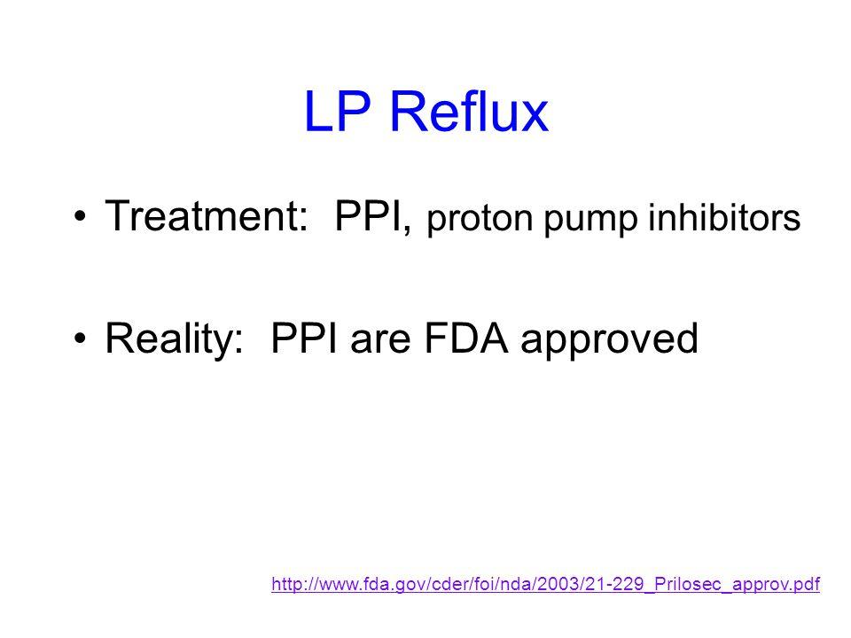 LP Reflux Treatment: PPI, proton pump inhibitors Reality: PPI are FDA approved http://www.fda.gov/cder/foi/nda/2003/21-229_Prilosec_approv.pdf