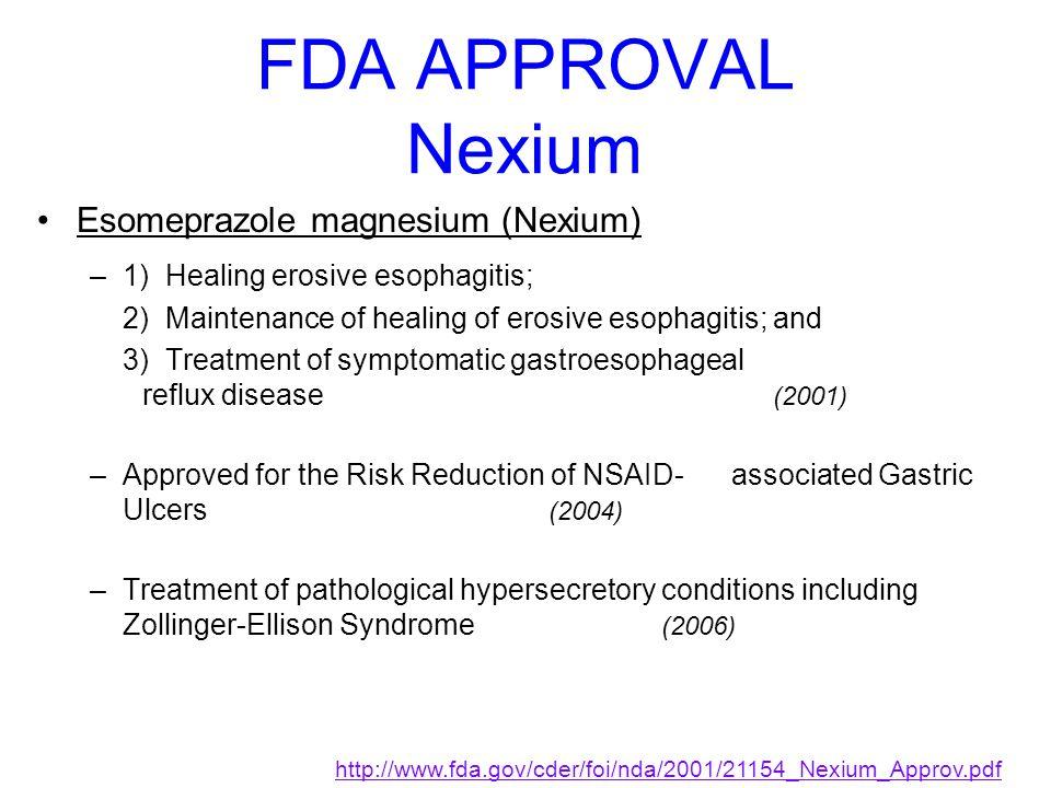 FDA APPROVAL Nexium Esomeprazole magnesium (Nexium) –1) Healing erosive esophagitis; 2) Maintenance of healing of erosive esophagitis; and 3) Treatmen