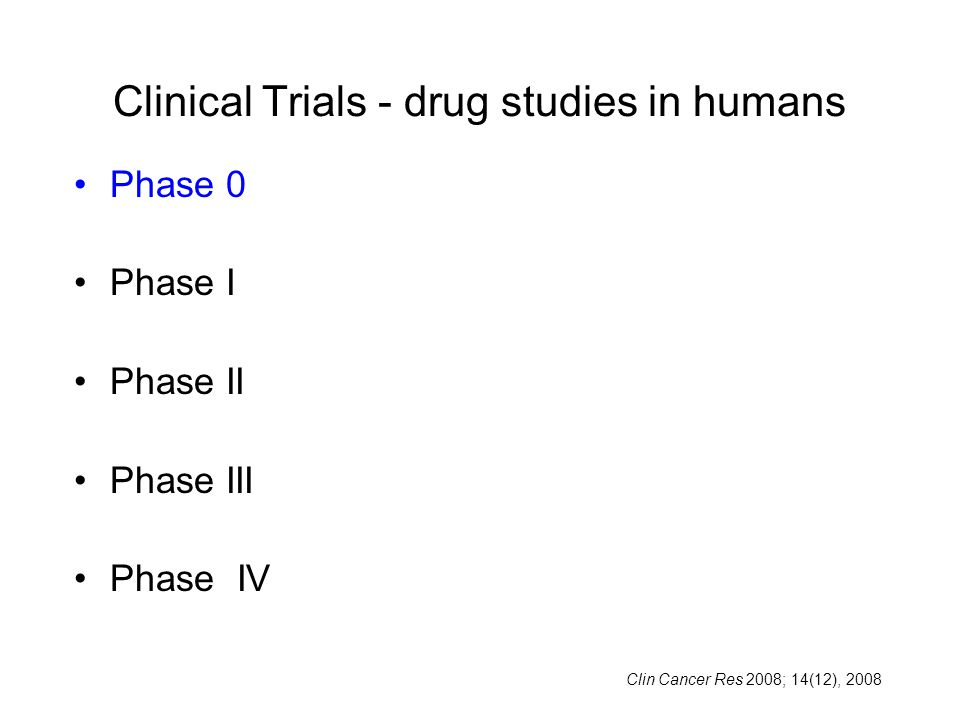 Clinical Trials - drug studies in humans Phase 0 Phase I Phase II Phase III Phase IV Clin Cancer Res 2008; 14(12), 2008