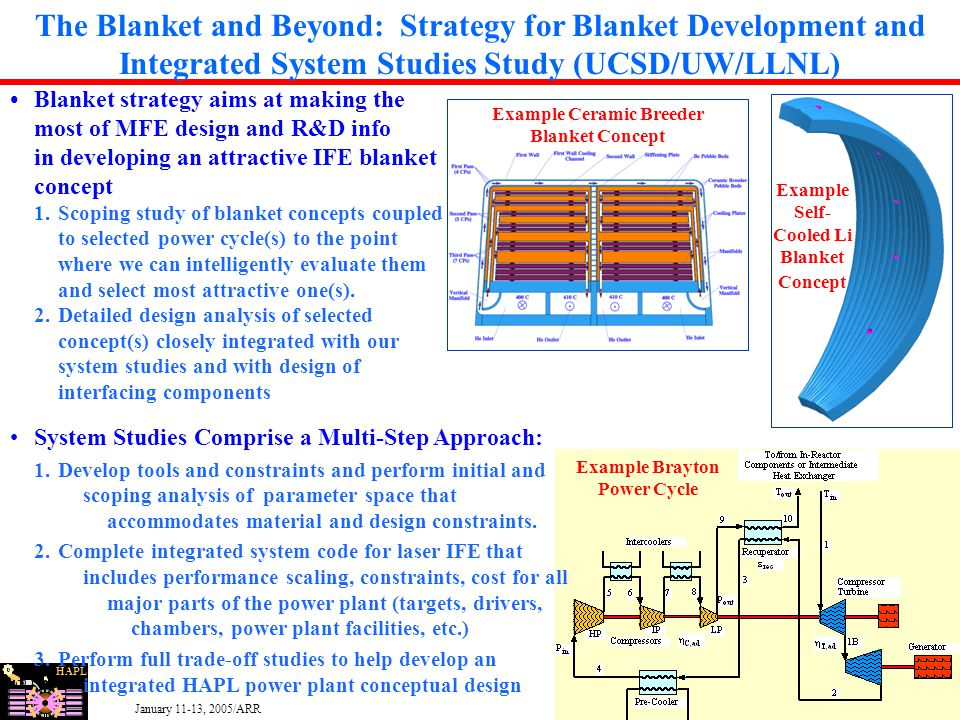 HAPL January 11-13, 2005/ARR 11 Example Self- Cooled Li Blanket Concept The Blanket and Beyond: Strategy for Blanket Development and Integrated System