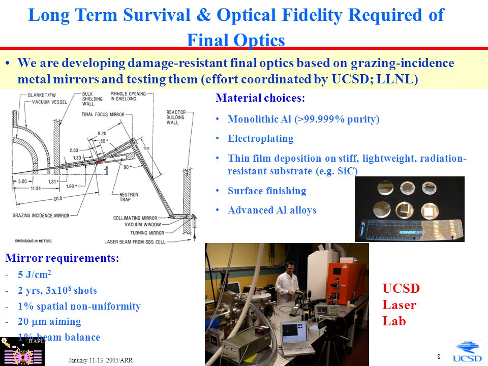 HAPL January 11-13, 2005/ARR 19 Example Results of Armor Parametric Analysis Illustrating Combination of Xe Chamber Pressure, Yield and Chamber Size to Maintain W Armor Within 2400°C for a Fusion Power of 1800 MW Example target survival constraints based on allowable q'' (including 0.25 W/cm 2 radiation from wall) to reach DT triple point for assumed 16 K, 400 m/s target and 4000 K Xe in chamber: Baseline target Insulated target (with 100  m 10% dense foam) W temperature limit of 2400°C assumed for illustration purposes Actual limit based results of ongoing experimental and modeling armor R&D effort Other requirements such as pumping need to be considered when setting chamber gas and pressure