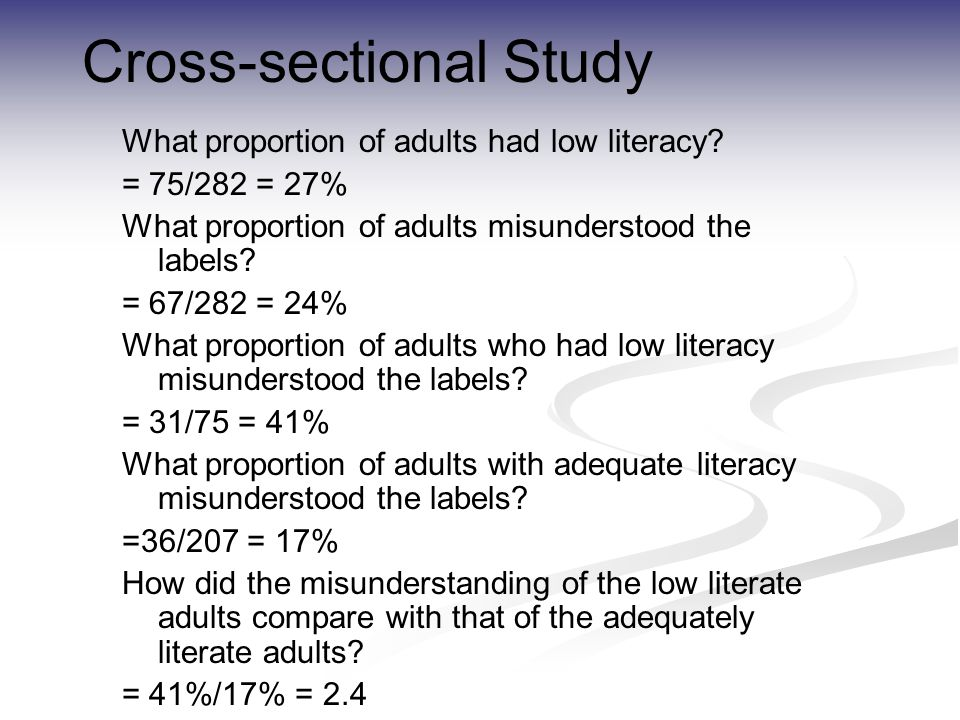 Cross-sectional Study What proportion of adults had low literacy.