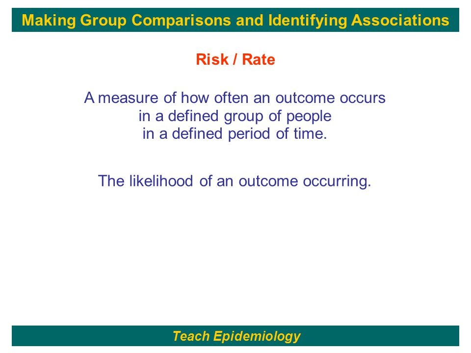 166 A measure of how often an outcome occurs in a defined group of people in a defined period of time.