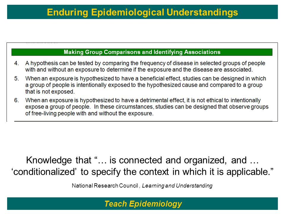 211 National Research Council, Learning and Understanding Teach Epidemiology Enduring Epidemiological Understandings Knowledge that … is connected and organized, and … 'conditionalized' to specify the context in which it is applicable.