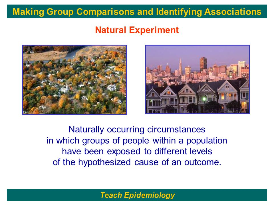 241 Naturally occurring circumstances in which groups of people within a population have been exposed to different levels of the hypothesized cause of an outcome.