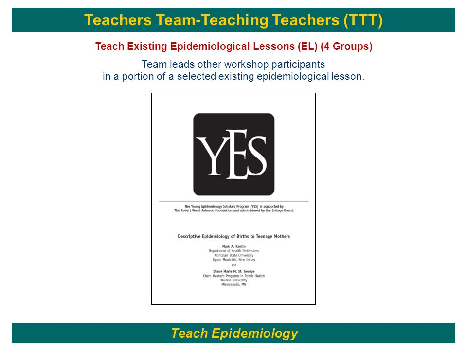 Teachers Team-Teaching Teachers (TTT) Teach Existing Epidemiological Lessons (EL) (4 Groups) Team leads other workshop participants in a portion of a selected existing epidemiological lesson.